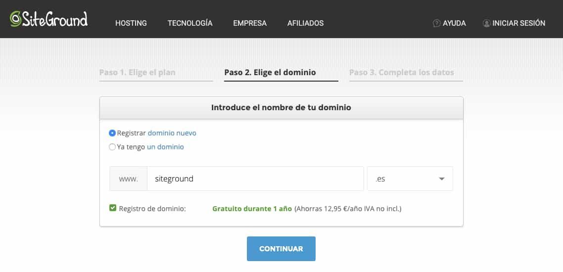 comprar un dominio en siteground wordpress